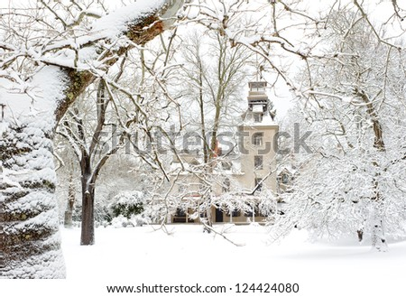 Old Country Mansion in the snow #124424080