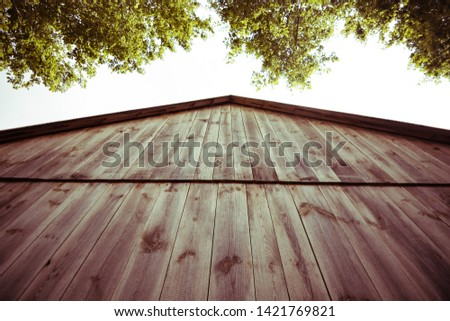 Old country-style rustic shed. Vertical wood panels with knots #1421769821