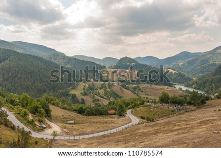 Old countryside road landscape