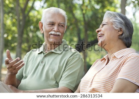 Old couple sharing a laugh