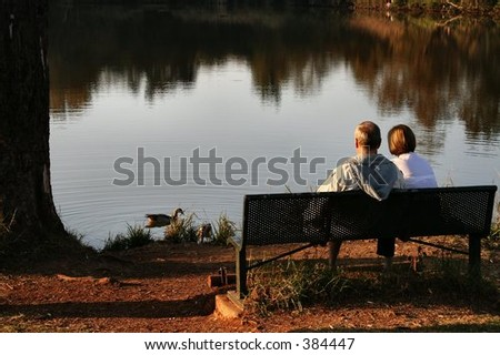 Old couple sitting at a lake feeding ducks in the afternoon.