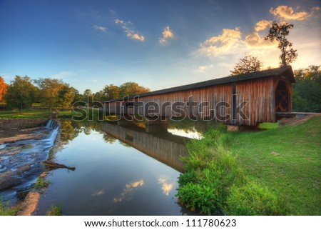 Old covered bridge in Watson Mill State Park, Georgia, USA.