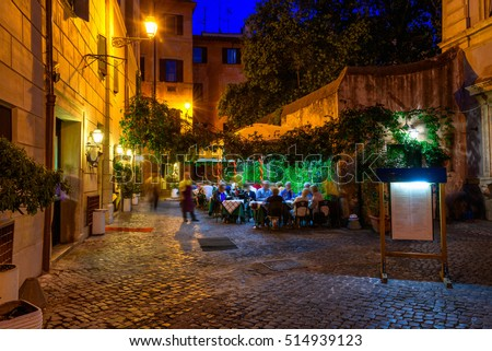 stock photo old cozy street at night in trastevere rome italy trastevere is rione of rome on the west bank 514939123 - Каталог — Фотообои «Улицы, переулки»