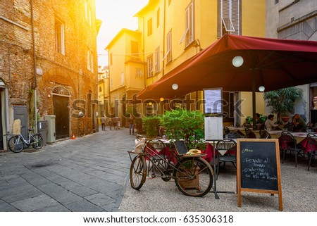 Old cozy street in Lucca, Italy. Lucca is a city and comune in Tuscany. It is the capital of the Province of Lucca ストックフォト ©