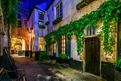 Old cozy street of the historic city center of Antwerpen (Antwerp), Belgium. Night cityscape of Antwerp. Architecture and landmark of Antwerpen