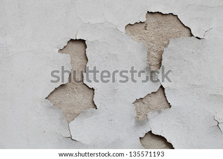 Old cracked stucco on the wall