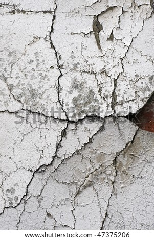 Old cracked wall background showing bricks underneath