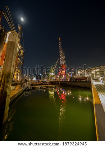 old cranes and other industrial history at the scheepvaart museum Stockfoto ©