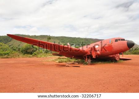 Old crashed plane in Canaima national park, Venezuela