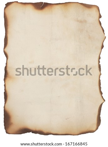 Old, creased and smudged paper with fire damaged and burned edges. Blank with room for text or images. Isolated on white.