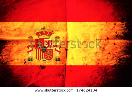 Old creased Spanish flag paper as the background
