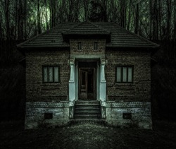 Old creepy haunted house with dark horror atmosphere and scary details. Ancient abandoned mansion with fool moon and black cat in frightening scene like in horror movies. Spooky Halloween decor.