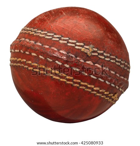 Old Cricket Ball isolated on white