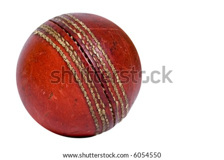 Old cricket ball isolated on white background #6054550