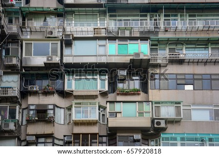 old crowded vintage residential ...