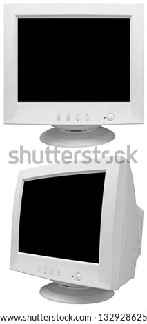 Old CRT monitor isolated on white background