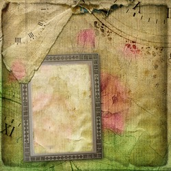 Old crumpled page vintage album with postcards and drawing rose