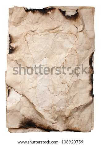 Old crumpled paper texture isolated on white background