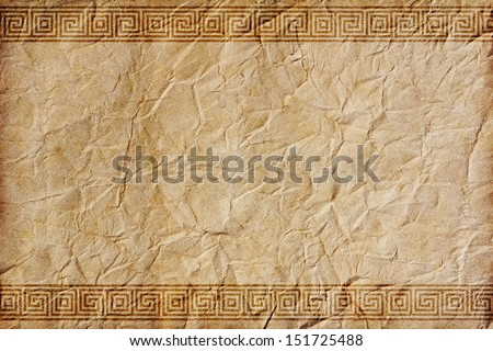 Old crumpled paper withbeautiful  ornaments in the Greek style