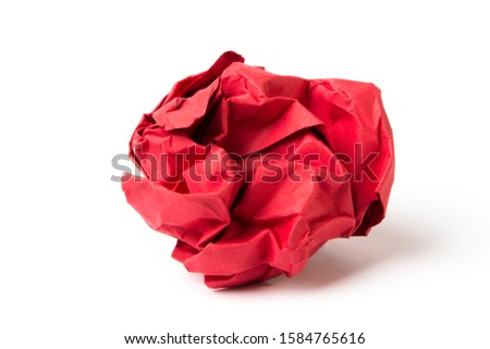 Old crumpled sheet of red paper #1584765616