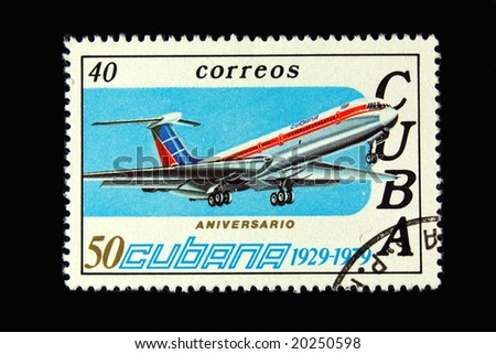 Old  Cuban postage stamp with airplane