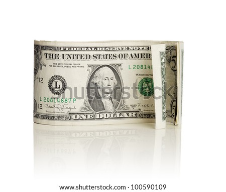 Old curly US dollar bills isolated on white with natural reflection.