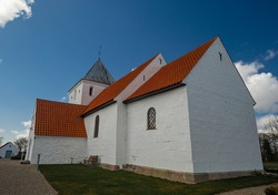 Old Danish church in central Jutland. Built approx. year 1400. The old cemetery thoughts, and memories from ancient times
