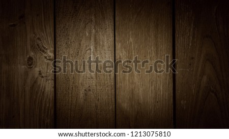 Old dark brown wooden wall, detailed background photo texture. Wood plank fence close up. #1213075810
