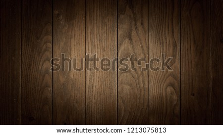 Old dark brown wooden wall, detailed background photo texture. Wood plank fence close up. #1213075813