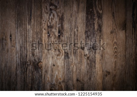 Old dark wooden wall, detailed background photo texture. Wood plank fence close up. #1225154935