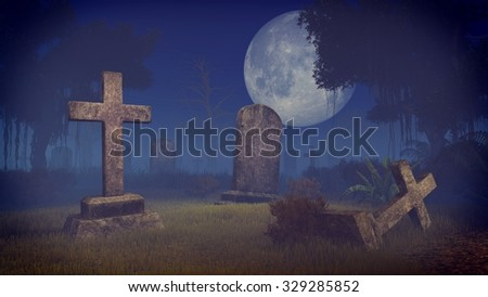 Old decaing tombstones at abandoned spooky cemetery under big full moon at mystic night. Realistic 3D illustration was done from my own 3D rendering file. Сток-фото ©