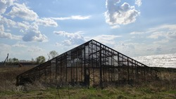 old decaying greenhouse with broken windows