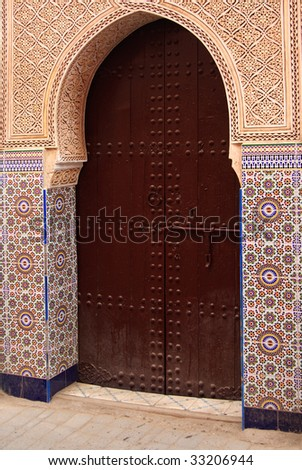 Old decorated gate in Marrakech's medina (Morocco)