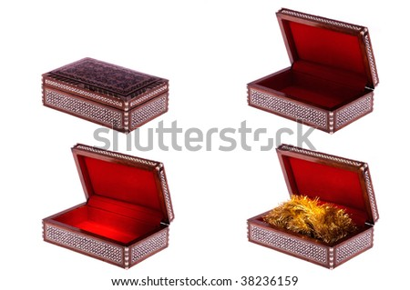 Old decorative casket with ornament opened and closed isolated on white