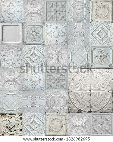 Old decorative painted tin ceiling tiles.  Stock photo ©