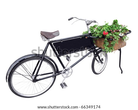 Old delivery bike with flowers in basket isolated on white with cutting path. - stock photo