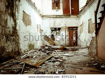 old derelict house - stock photo