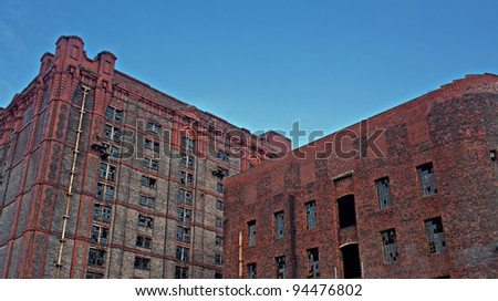 Old derelict victorian tobacco warehouse in Liverpool UK, Grade 2 listed, the largest brick built warehouse in the world