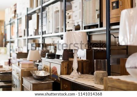 Old design furniture offered for sale in secondhand shop