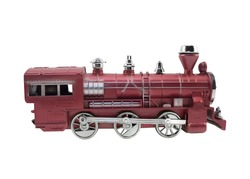 Old design train toy. Isolated red and metal colors train toy profile view.