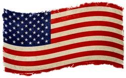 old designed vintage american flag waving