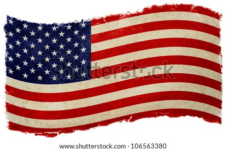 old designed vintage american flag waving - stock photo