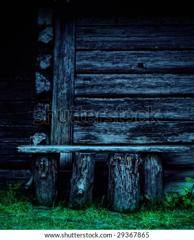 Old desolate wooden bench in abandoned village