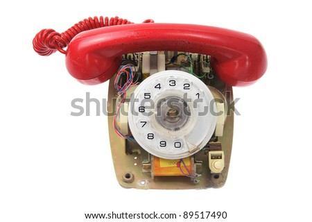 Old Dial Phone on White Background - stock photo