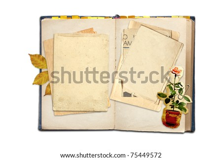 Old diary. Objects isolated over white
