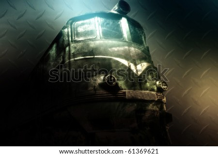 Old diesel locomotive, train, dark grunge background
