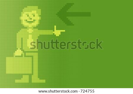 old digital pixel art business man background