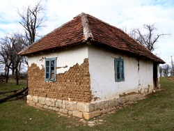 Old dilapidated ancient  house in the village