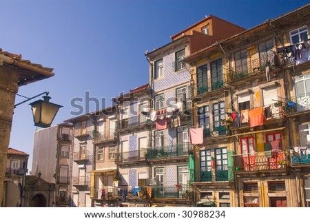Old dilapidated houses in the old town of Porto, Portugal