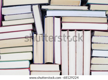 Old dirty books on book shelf background